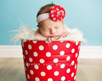 Galvanized Metal Bucket Retro Red and White Polka Dot Newborn Baby Photo Prop