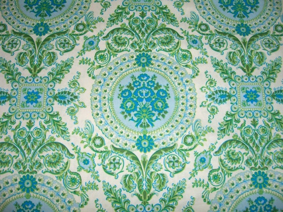 Azure Blue Enchanting Tile Fabric by Anna Griffin for Baum Textile ISABELLE 1 Yard