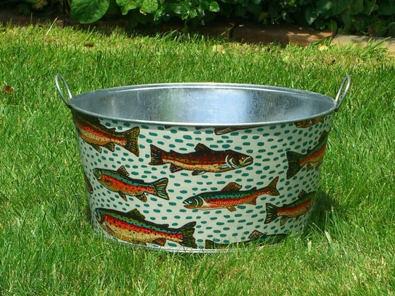 Large Wash Tub : Wash Tub Large Round Galvanized Party Tub Gone Fishing