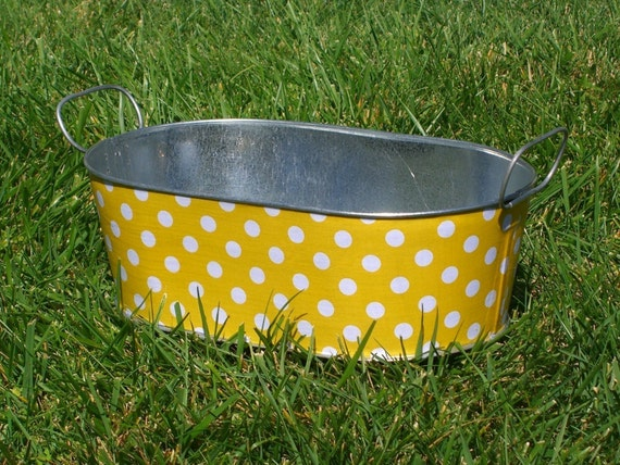 Medium Oblong Galvanized Tub Planter Yellow and White Polka Dot
