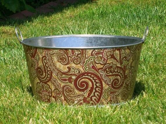 Antique Paisley Large Round Galvanized Party Tub