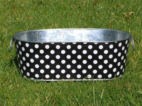 Black and White Polka Dot Large Oblong Galvanized Tub Infant Photo Prop