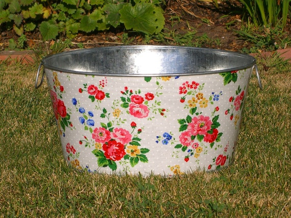 Galvanized Tub Kitty Floral Bouquet Large Round Party Bucket
