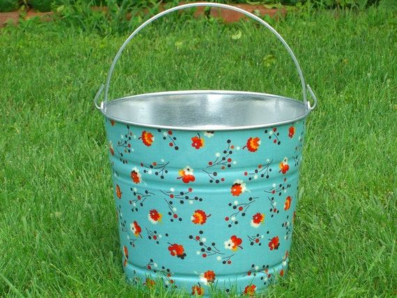 DAMAGED CLEARANCE Fabric Decoupaged Galvanized Bucket Turquoise Posies - Ready for Shipping