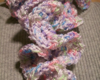 Soft Scarf  Crocheted  Hyperbolic Ruffles Candy Necklace Color One of A Kind