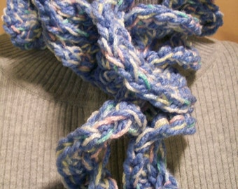 Scarf Hand Made Crochet  Denim Blue Giggle Hyperbolic Ruffled Curly