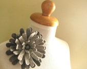 London Sky-- Felt flower brooch -merino wool Hand felted -