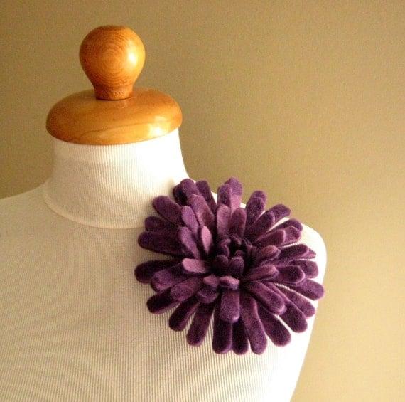 Chrysanthemum in Purple Shades - Felt Flower Brooch -- Hand felted wool
