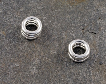handmade sterling silver stacked tyre spacer bead / charm - fits european style charm bracelets
