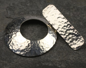 Handmade sterling silver toggle clasp hammered texture