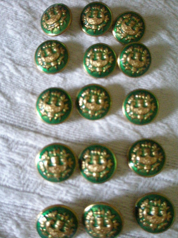 SALE-SALE Vintage - Antique Green and Gold Metal Buttons 15 Total