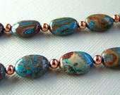 Paisley Teal Jasper Gemstone and Copper Necklace