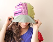 multicolored patchwork tam slouch hat fall fashion