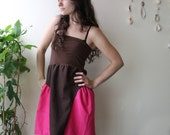 brown linen tube top dress with pink ruffles