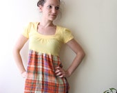 SALE 50% babydoll tshirt with plaid summer top small