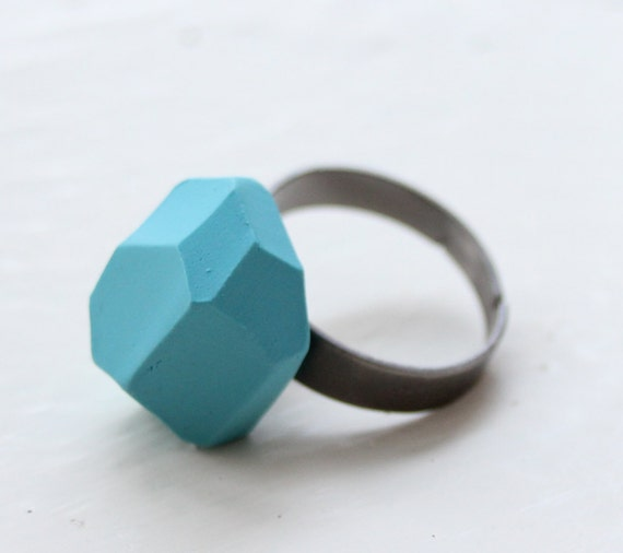 baby blue geo faceted adjustable ring