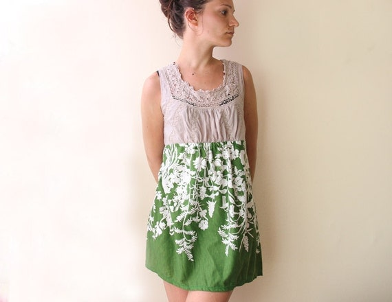 green floral print embroidery summer dress