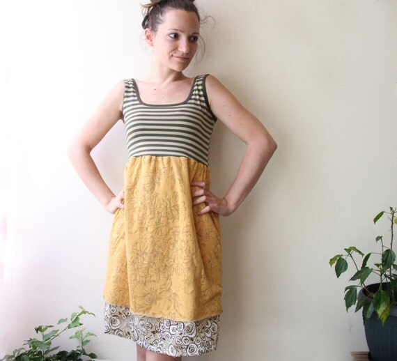 SALE 30% stripes tank dress with floral pattern small