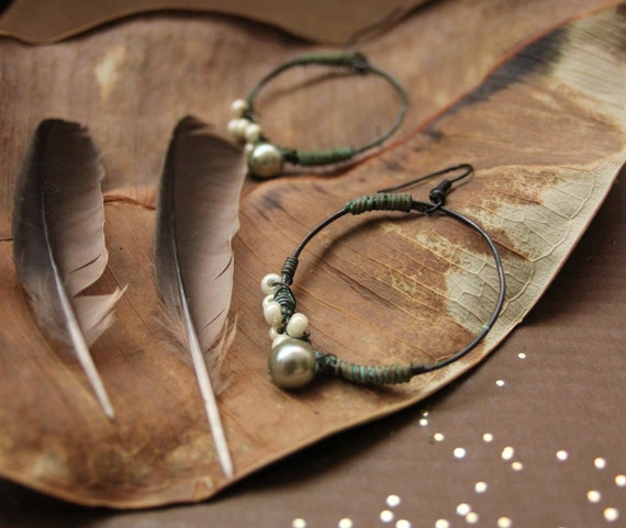copper hoop earring wire wrapped gypsy tribal