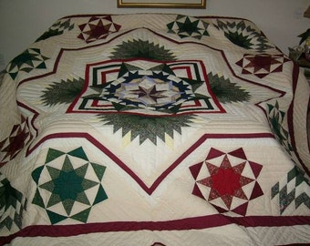 Hand made, Handstitched, Amish Pattern - King or Queen Size -SPARKLING STAR QUILT