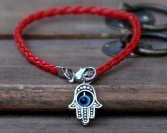 Hamsa Red string vegan leather kabbalah bracelet evil eye, Kabbalah Madonna hamsa