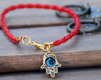 Red string vegan leather kabbalah bracelet evil eye, Kabbalah Madonna hamsa