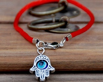 Good luck bracelet Hamsa traditional Red string brecelet evil eye, Kabbalah Madonna hamsa