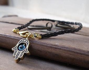 Black string vegan  leather kabbalah bracelet evil eye, Kabbalah Madonna hamsa