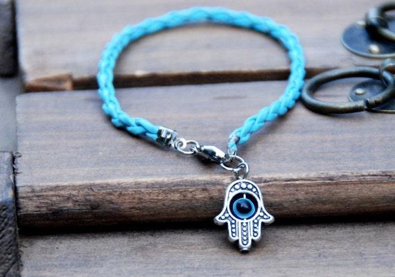 Light blue string vegan leather kabbalah bracelet evil eye, Kabbalah Madonna hamsa