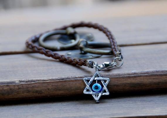 Kabbalah Star Of David, Brown string vegan leather kabbalah bracelet evil eye