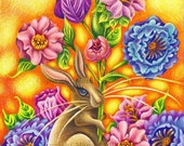 "Happiness in Flowers - an 8 x 10"" ART PRINT of a sweet brown rabbit meant to help celebrate Mothers Day, Spring, Nature and Friendship, Love"