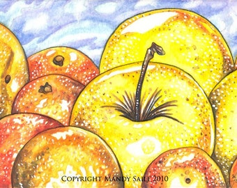 """Apples and Oranges - an 8 x 10"""" ART PRINT of beautiful fruit"""
