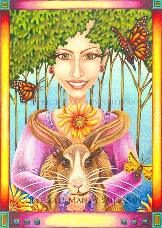 """Happy Easter - an 8 x 10"""" ART PRINT of a woman and rabbit celebrating friendship, connection, nature, Spring, love, kindness and kinship"""