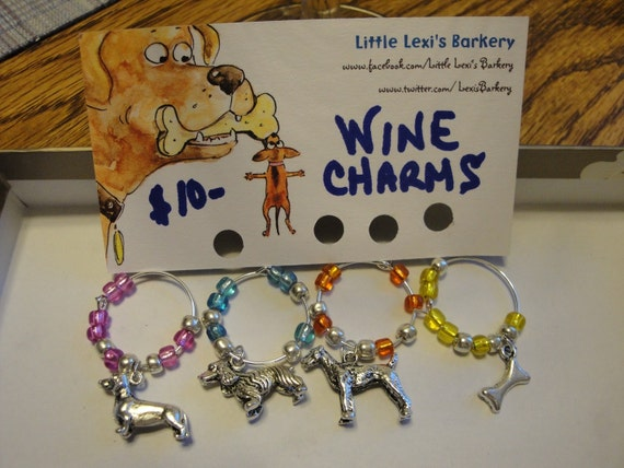 """Hand Crafted """"Dog Themed"""" Wine Charms"""