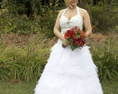 RCB custom sized convertible tulle leaf halter top wedding dress