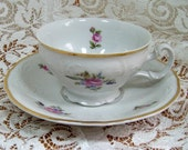 Cup and Saucer, Sonata Bone China, Made in Czechoslovakia - Gorgeous Roses Embossed
