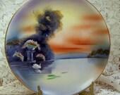 Handpainted Plate - SUNSET - Noritake - Japan - Hanging or Decorative