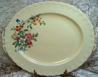 PLATTER - Grindley of England - Butter Yellow with Florals - Vintage