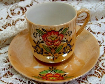 DEMITASSE - Cup and Saucer Luster Ware Lustreware - handpainted motif  JAPAN