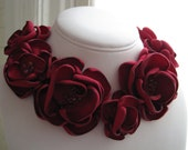 fabric flower necklace - Made To Order - scarlet red satin and beaded statement necklace - PAMELA