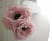 fabric flower brooch  corsage pin in parfait pink and gray froth - CUSTOM - LETITIA