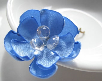bridal hairpin sweet blue fabric flower with crystals  - SOMETHING BLUE - Made to Order