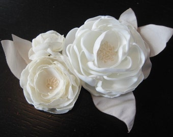 fabric flower applique for dress or sash with crystals - Made To Order - WEDDING BELLES