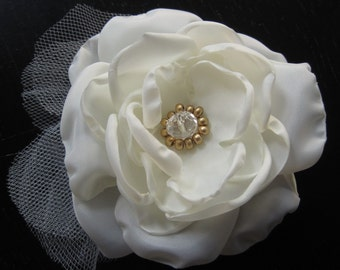 wedding bridal hair clip or comb - Made To Order fabric flower with pale ivory cream petals and glass beaded center