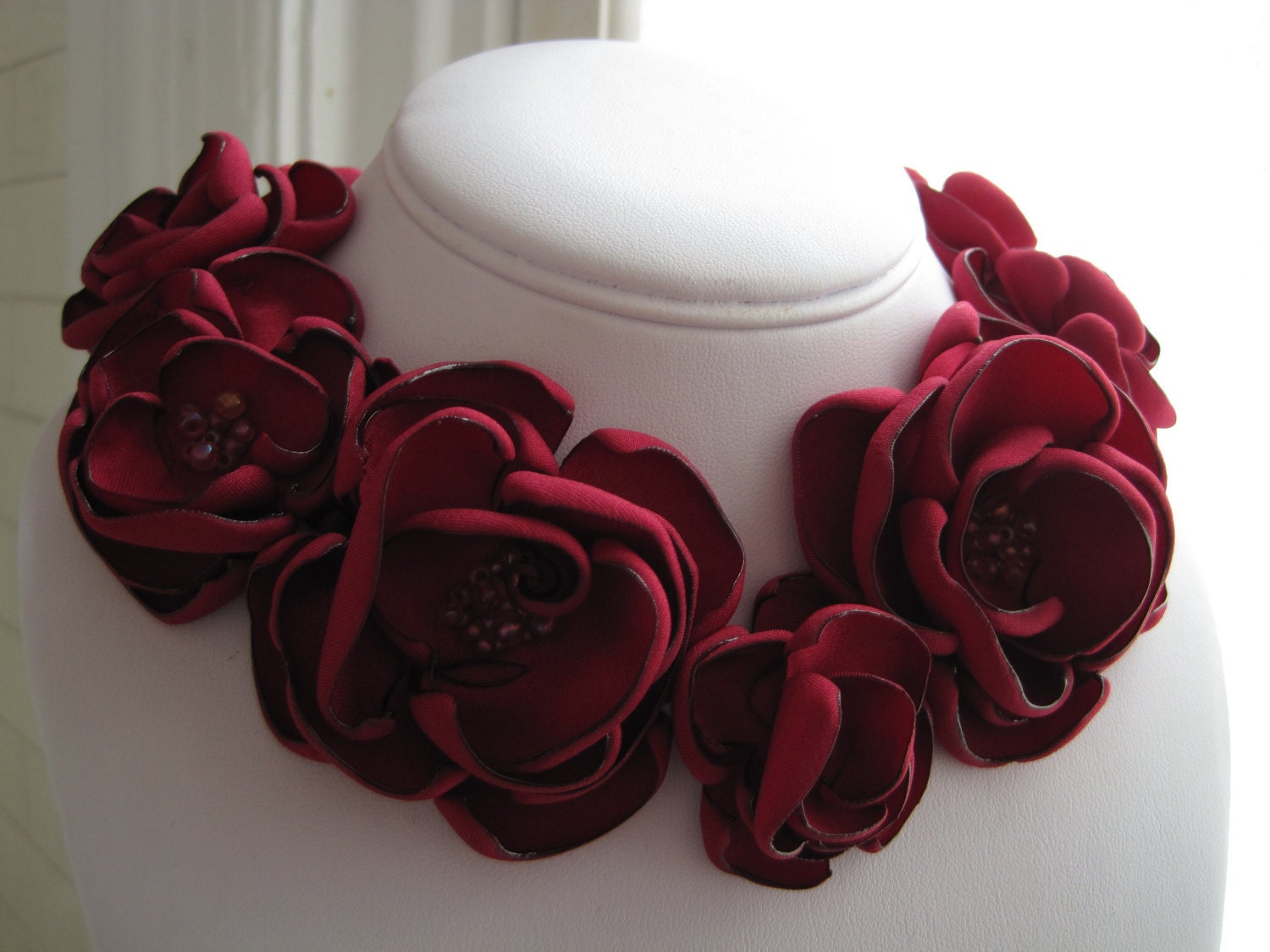 Fabric Flower Necklace Made To Order Scarlet Red Satin And