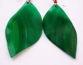 Eco-friendly Green Leaf Vinyl Earrings