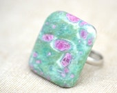 Natural Raw Ruby in Fuschite Adjustable Ring.