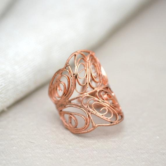 Copper Filigree Leaf Adjustable Ring.