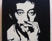 Serge Gainsbourg   stencil graffiti on canvas