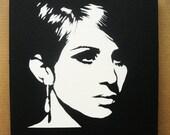 Barbra Streisand Stencil Graffiti On Canvas Spray Paint Pop Art Barbara